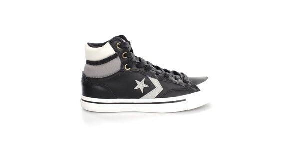 Černé kožené tenisky s hvězdou Converse