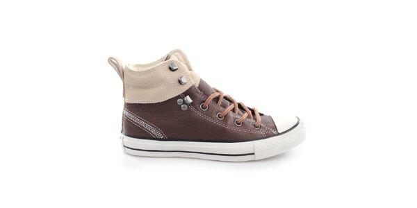 Hnědé kotníčkové šněrovací boty Converse