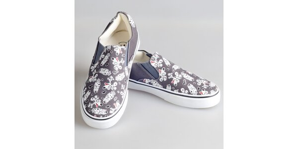 Dámské šedé boty s pejsky The Bees