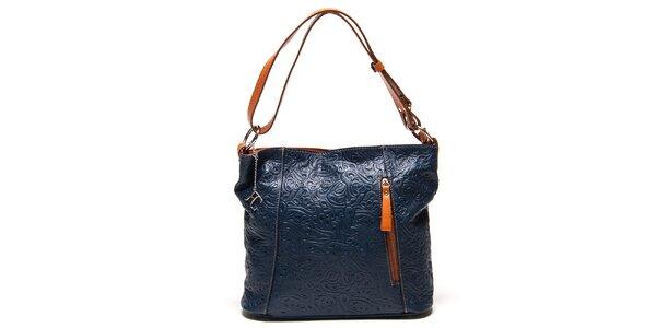 Dámská modrá kabelka s reliéfním vzorem Renata Corsi