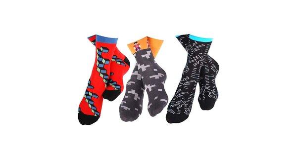 3 páry pánských ponožek s originálním vzorem Happy Socks