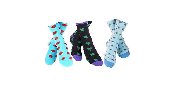 3 páry pánských ponožek Happy Socks - se smajlíkem, čtyřlístkem a palmami