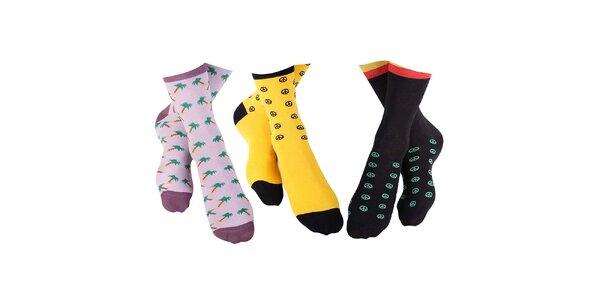 3 páry pánských ponožek Happy Socks - se znakem míru a palmami