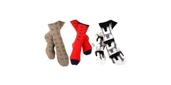3 páry pánských ponožek Happy Socks - se znakem míru, palmami a pávy
