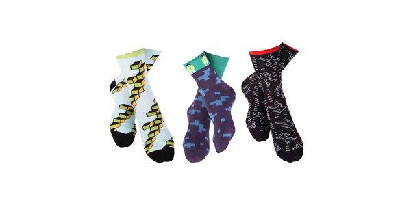 3 páry pánských ponožek s originálním barevným vzorem Happy Socks