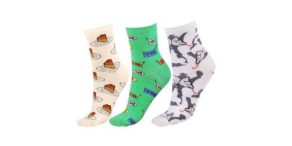 Dámský set ponožek s veselými barevnými motivy Happy Socks - 3 páry