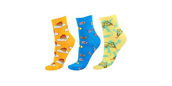 Dámský set barevných ponožek s dortíky, nápisy a chameleony Happy Socks - 3 páry