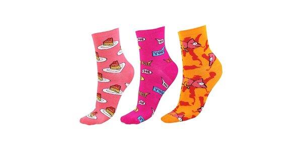 Dámský set ponožek s dortíky, nápisy a chameleony Happy Socks - 3 páry
