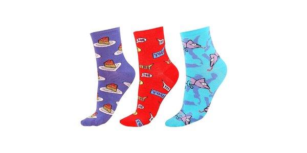 Dámský barevný set ponožek s dortíky, nápisy a chameleony Happy Socks - 3 páry
