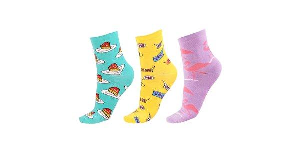 Dámský set ponožek s dortíky, nápisy a plameňáky Happy Socks - 3 páry