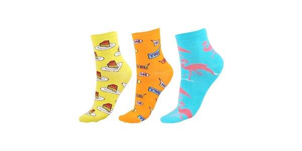 Dámský barevný set ponožek s dortíky, nápisy a plameňáky Happy Socks - 3 páry