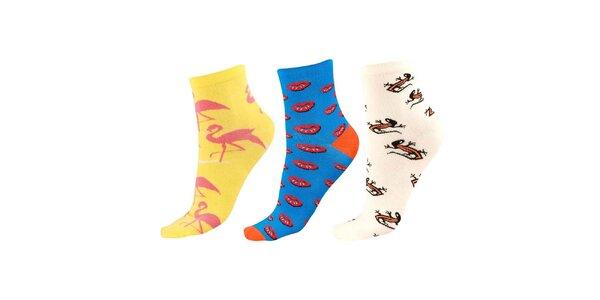 Dámský set ponožek s plameňáky, ještěrkami a pusinkami Happy Socks - 3 páry