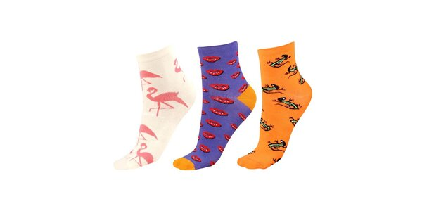Dámský barevný set ponožek s plameňáky, ještěrkami a pusinkami Happy Socks -…