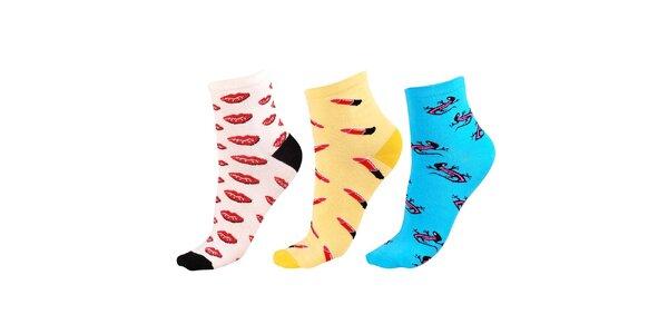 Dámský barevný set ponožek s potiskem Happy Socks