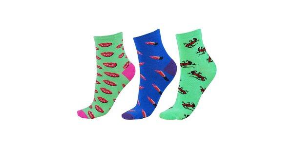 Dámský modro-zelený set ponožek Happy Socks - 3 páry