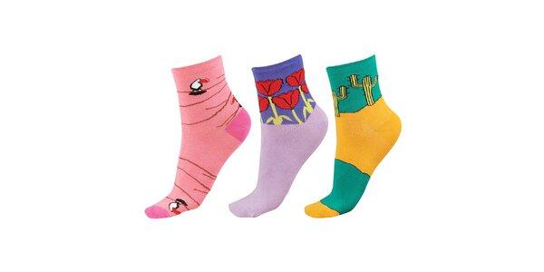 Dámský barevný set ponožek s obrázky Happy Socks - 3 páry