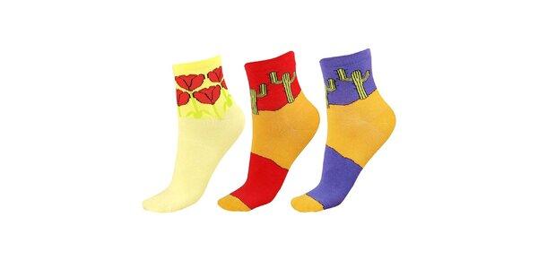 Dámský set ponožek s tulipány a kaktusy Happy Socks - 3 páry