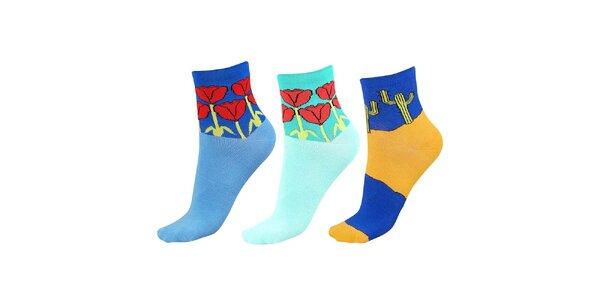 Dámský set barevných ponožek s tulipány a kaktusy Happy Socks - 3 páry