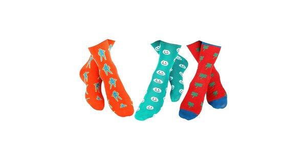 3 páry pánských ponožek Happy Socks - se slečnou, smajlíkem a čtyřlístkem