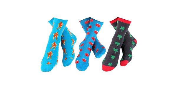 3 páry barevných pánských ponožek Happy Socks - se slečnou, smajlíkem a…