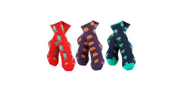 3 páry barevně vzorovaných pánských ponožek Happy Socks - se slečnou, smajlíkem…