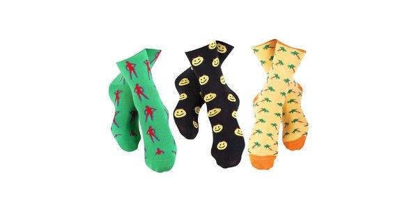 3 páry pánských ponožek Happy Socks - se slečnou, smajlíkem a palmami