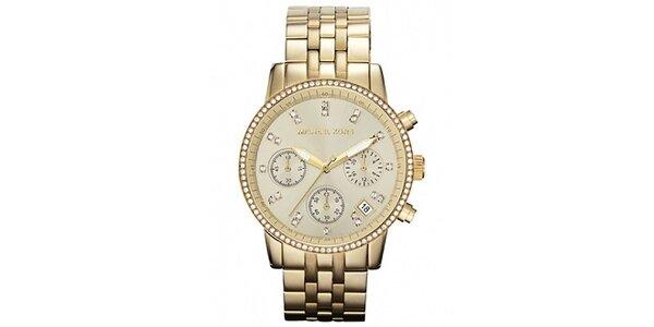 Dámské pozlacené ocelové hodinky s kamínky Michael Kors