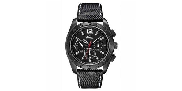 Pánské hodinky s černým koženým prošívaným řemínkem Lacoste