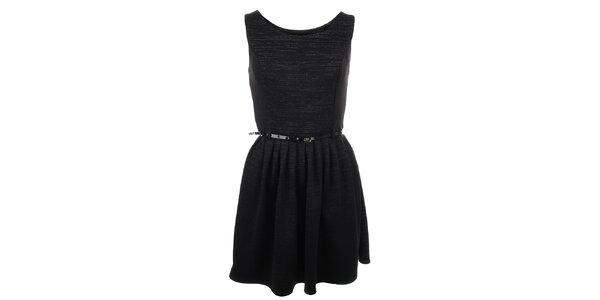 Dámské černé šaty s páskem Iska