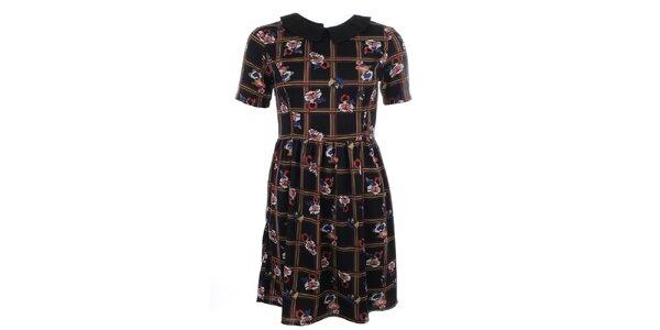 Dámské černé šaty s barevným vzorem a límečkem Iska