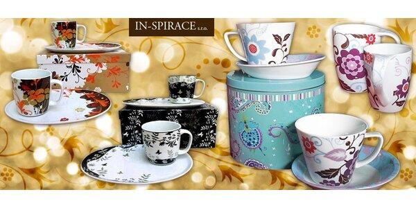 Snídaňové a kávové porcelánové sety pro dva