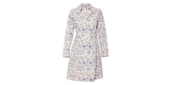 Bílý dámský jarní kabát Naf Naf s fialovým květinovým vzorem
