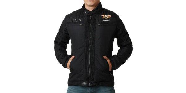 Pánská černá bunda s náprsními kapsami Geographical Norway