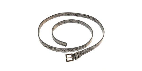 Dámský šedý lakovaný pásek Hope v imitaci hadí kůže