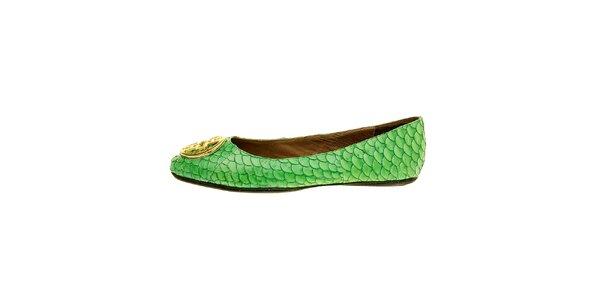Dámské sytě zelené baleríny Hope se zlatou sponou a rybími šupinami