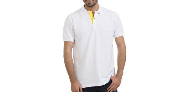 Pánské bílé polo se žlutou légou Giorgio Valenti