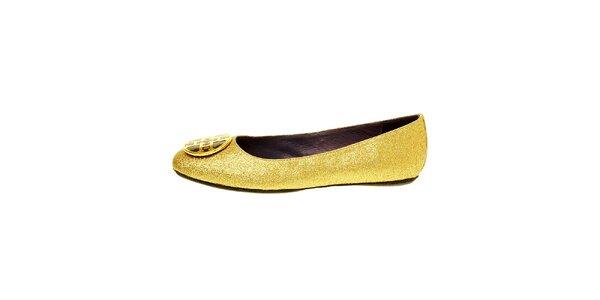 Dámské zlaté baleríny Hope se zlatou sponou