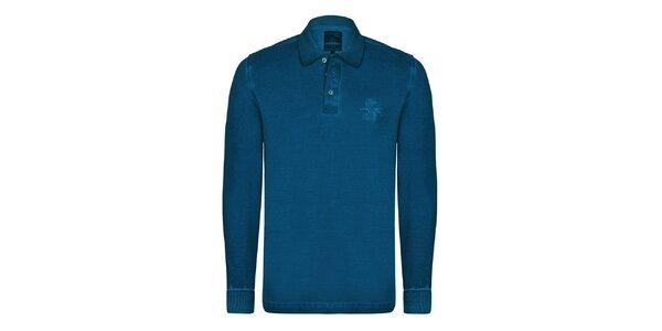 Pánské modré polo triko s dlouhým rukávem Giorgio di Mare
