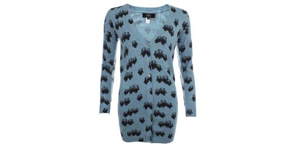 Dámský modrý propínací svetr s pandí rodinkou Iska