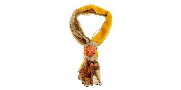 Dámský béžovo-oranžový šál Hope s ornamentálním vzorem