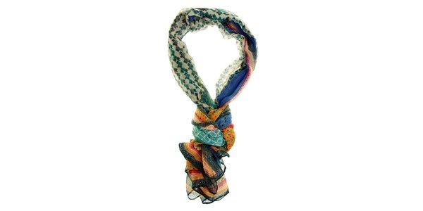 Dámský modro-zelený šál Hope s ornamentálním vzorem