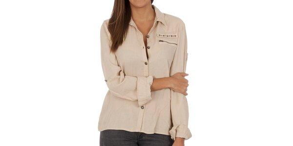 Dámská béžová košile s kapsou Vero Moda