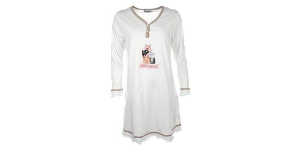 Dámská béžová noční košile s kočičkami Body International
