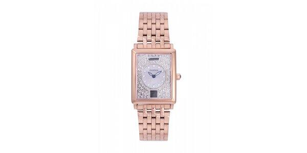 Dámské zlaté ocelové hodinky Lancaster s krystaly