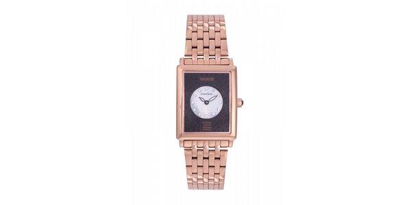 Dámské zlaté ocelové hodinky Lancaster s černým ciferníkem a krystaly