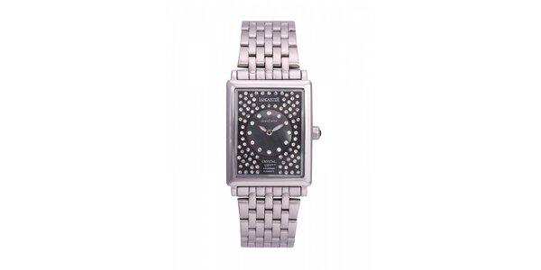 Dámské ocelové hodinky Lancaster s černým ciferníkem a krystaly