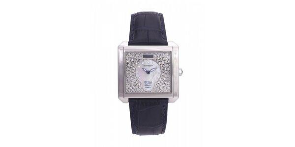 Dámské ocelové hodinky Lancaster s krystaly a tmavě modrým koženým řemínkem