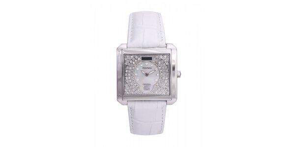 Dámské ocelové hodinky Lancaster s krystaly a bílým koženým řemínkem
