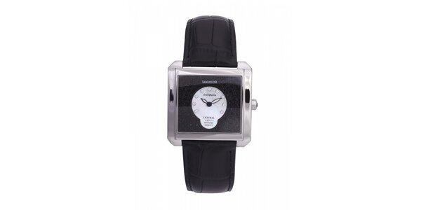 Dámské ocelové hodinky Lancaster s krystaly a černým koženým řemínkem