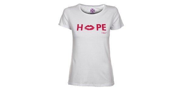 Dámské bílé tričko Hope s růžovým potiskem